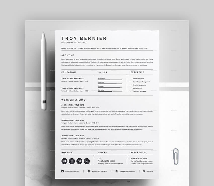Resume - Basic Black and White Resume
