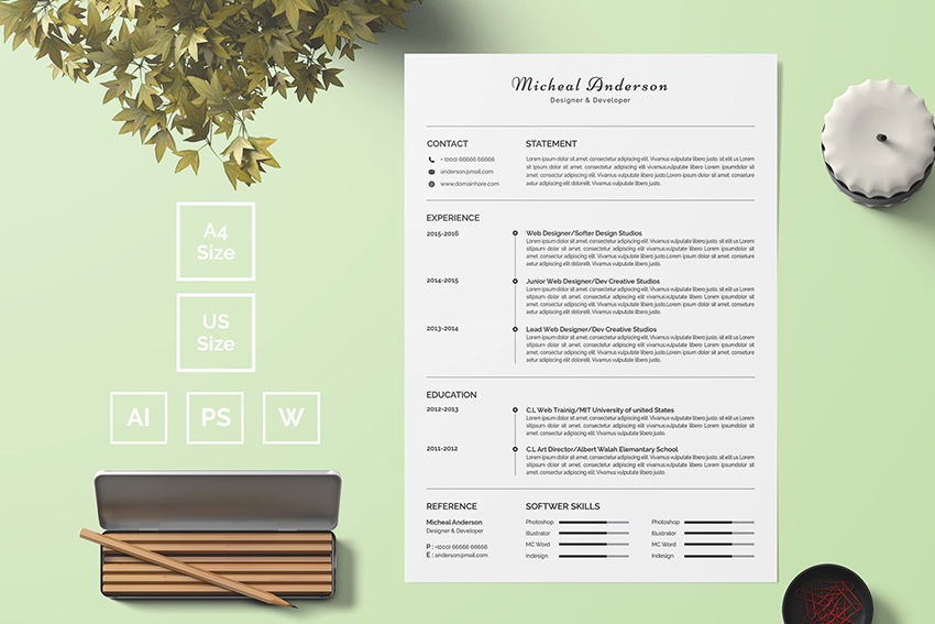 Basic Resume Template 04 on Envato Elements