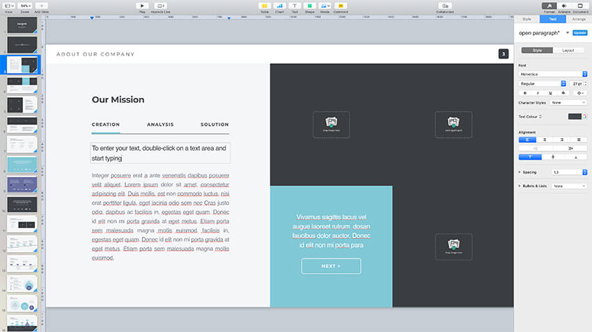 Replacing content in the Pitch Werk template