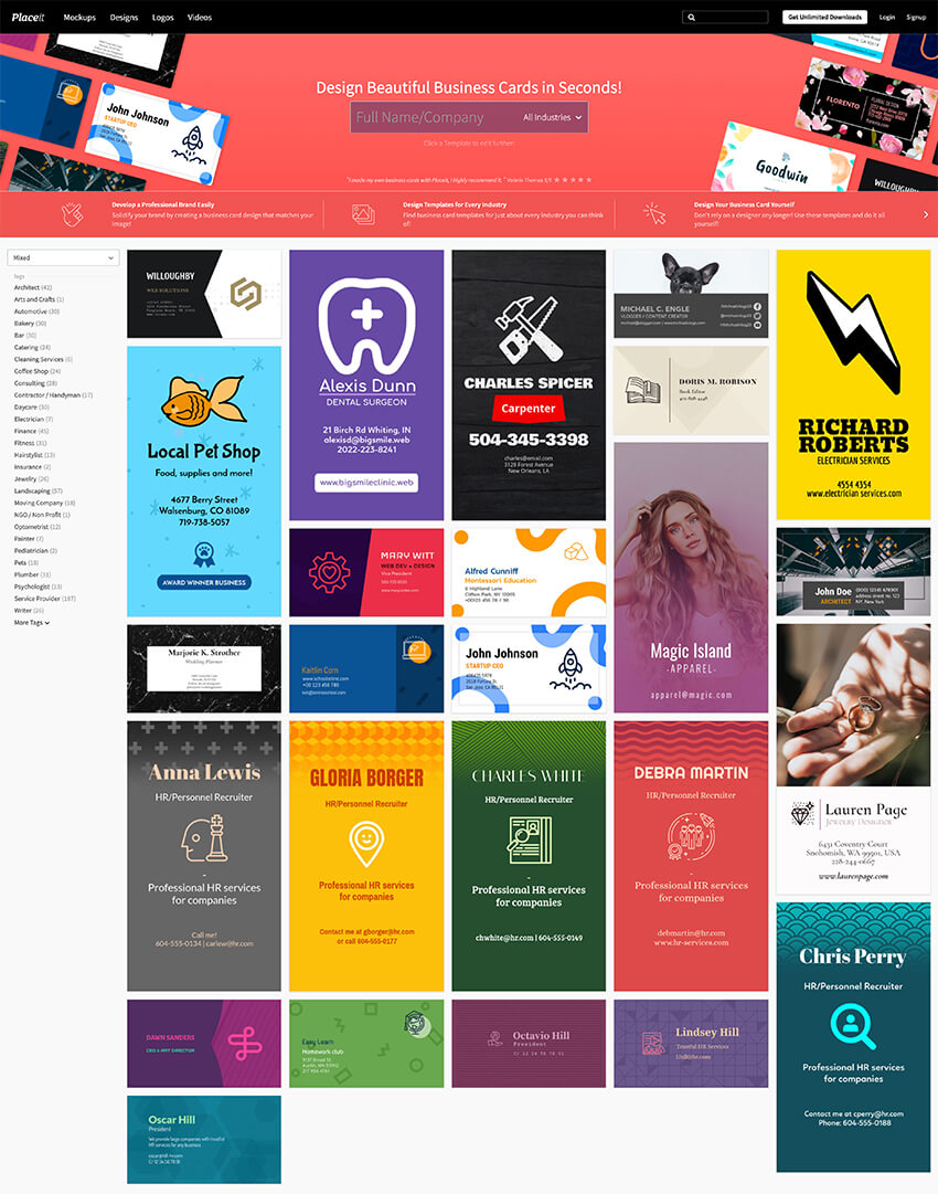 Placeit business cards