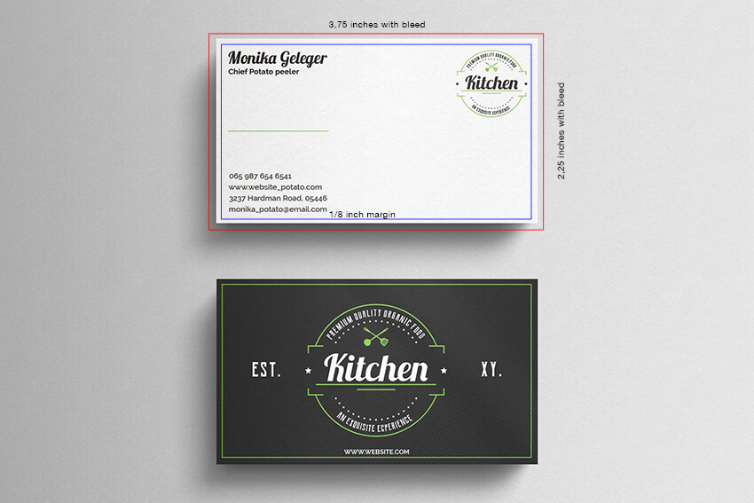 US Business Card Standard Dimensions With Bleed Area and Safe Zone