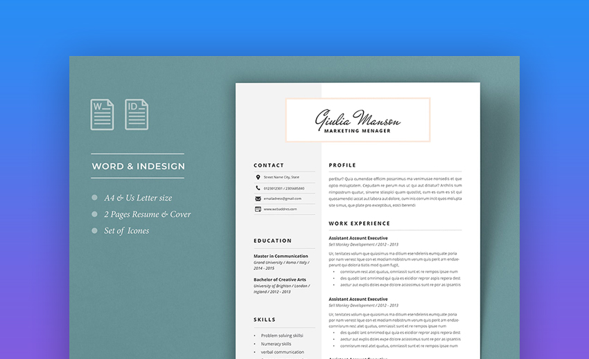25 Attractive Eye Catching Resume Cv Templates With Stylish Aesthetics