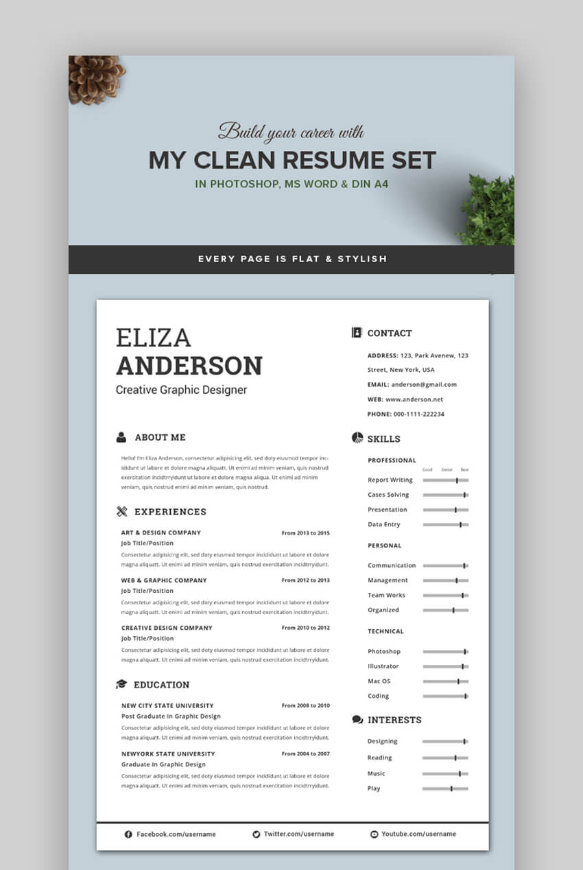 30 Attractive Eye Catching Resume Cv Templates With