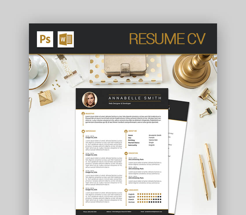 Resume CV - Modern Resume Template With Stylish Aesthetic