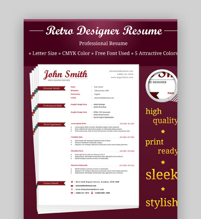 Retro Resume Design - Visual Resume Template