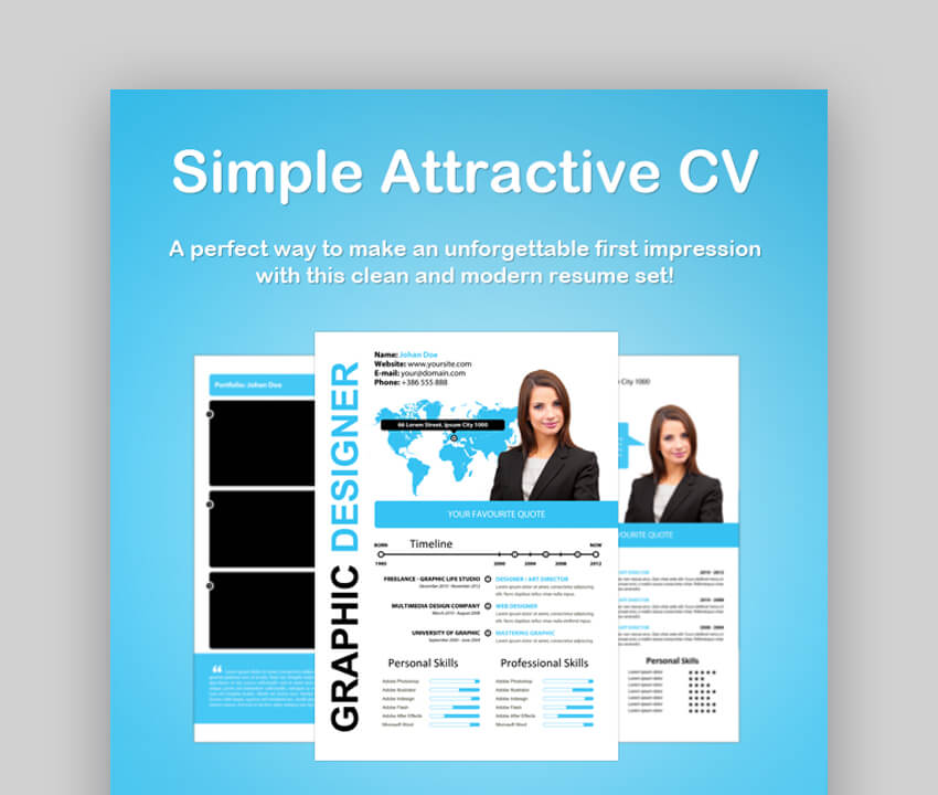 Simple Attractive Resume CV - Modern Resume Template