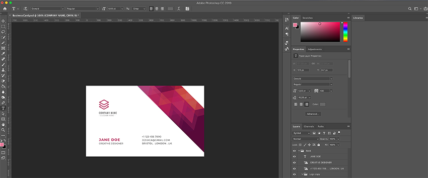Editing text in The Business Card Template