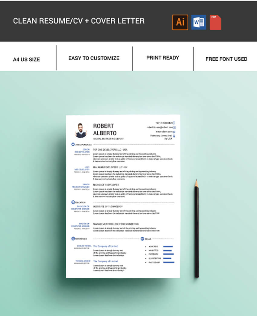 Free Clean Resume Template
