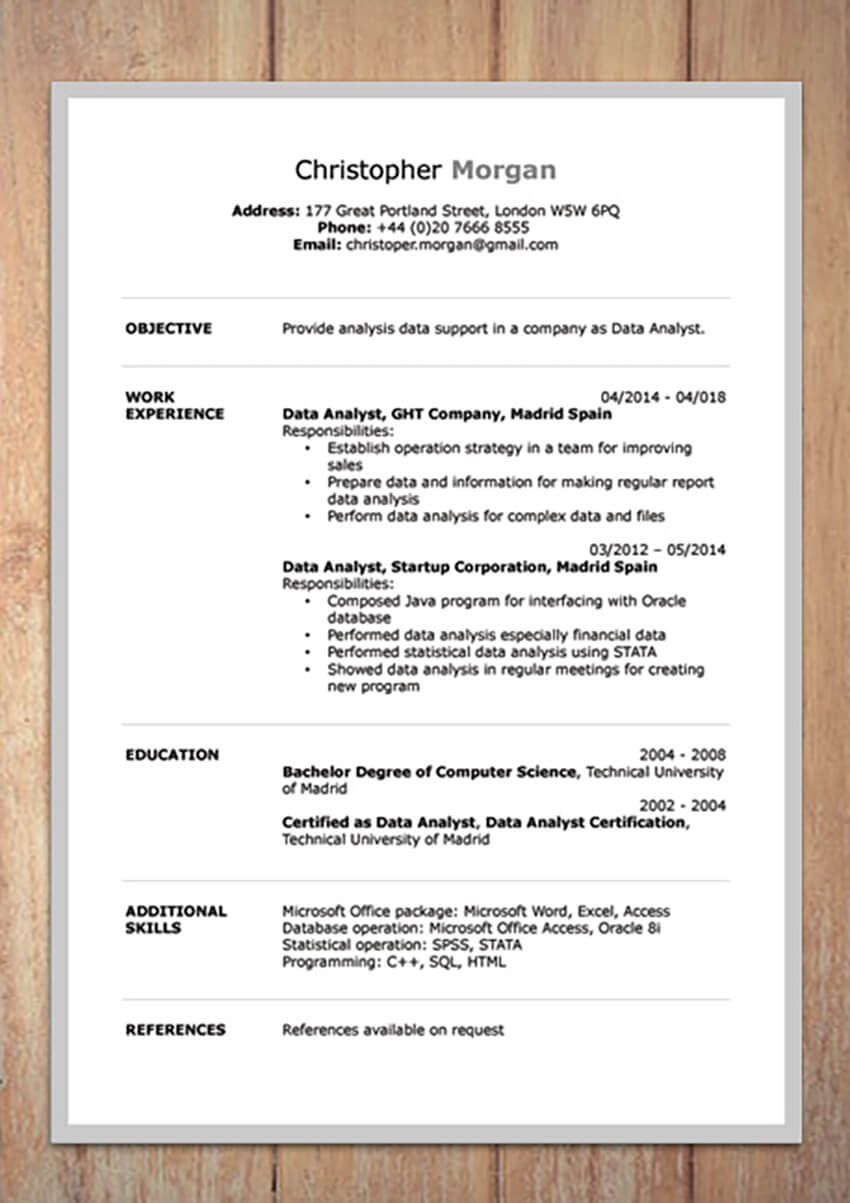 Free Clean Resume for PDF Export