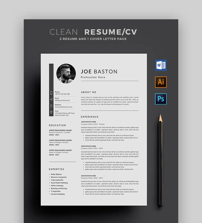 25 Export To Pdf Format Resume Templates Free Premium For 2019