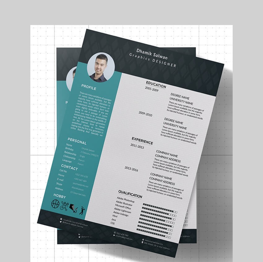 CV or Resume Photoshop Template