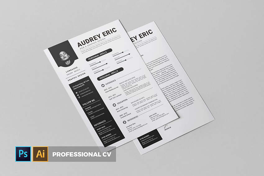 Professional Resume Template from Envato Elements