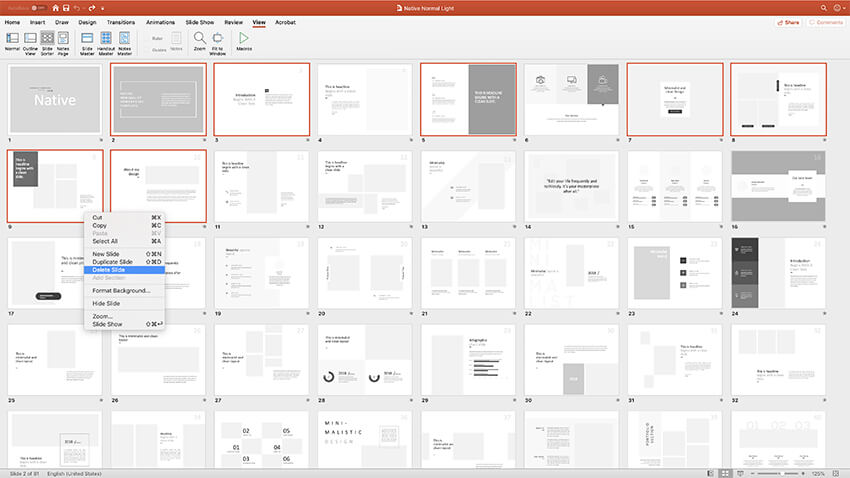 Choosing slides