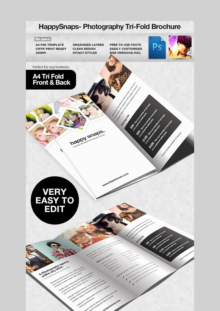 HappySnaps - Brochure Template in PSD Format for Photographers