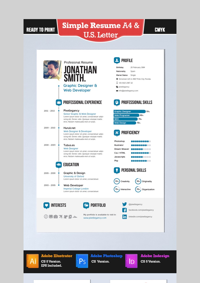 30 Simple Resume Cv Templates Easily Customizable Editable For 2020