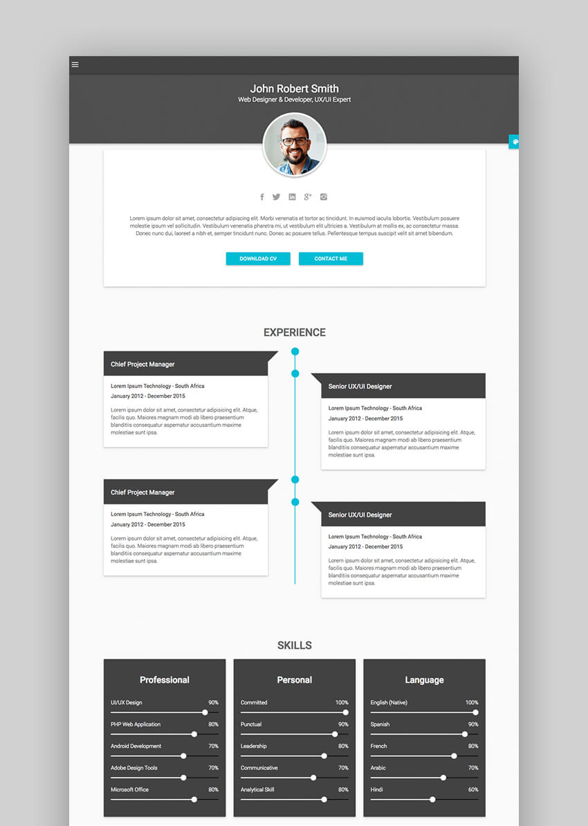 Decent - Material CV  Personal Resume Site Template