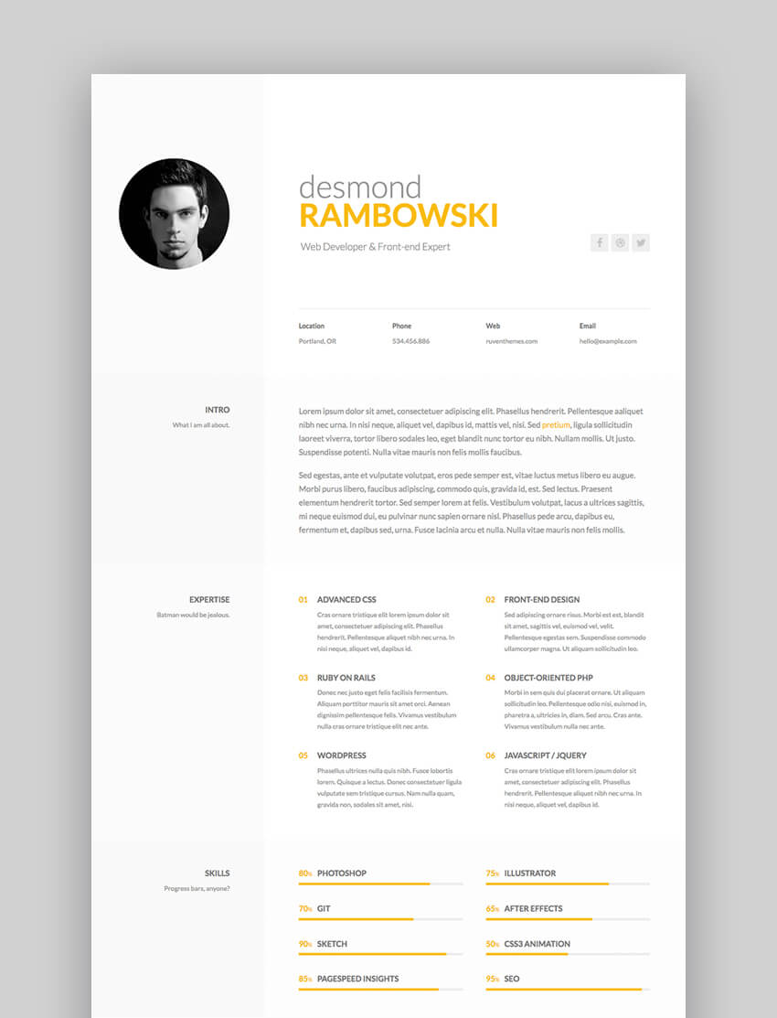 Desmond - Personal HTML Resume Website Template