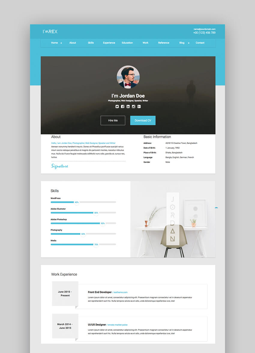 23 Best Html Resume Templates To Make Personal Profile Cv Websites 2020