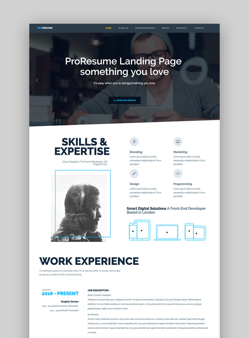 ProResume - Professional ResumeCV Site HTML Resume Template