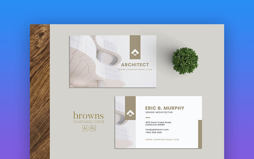 Architect Business Card - Business Card Template With a Photo Design