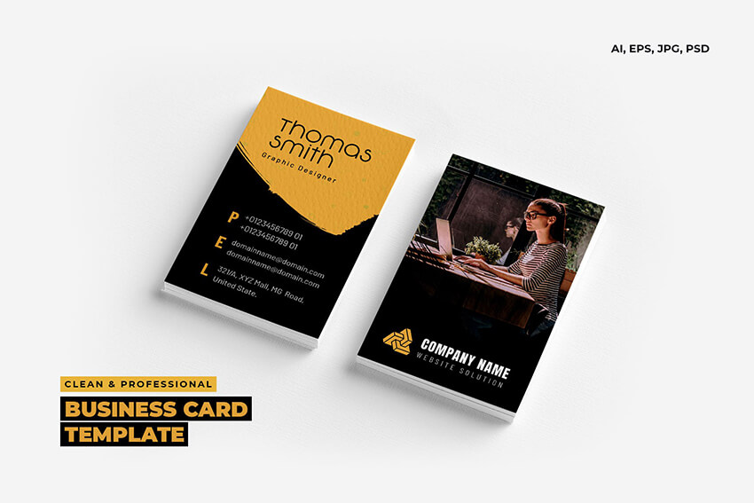 Clean and Professional Business Card Template With Photo Design