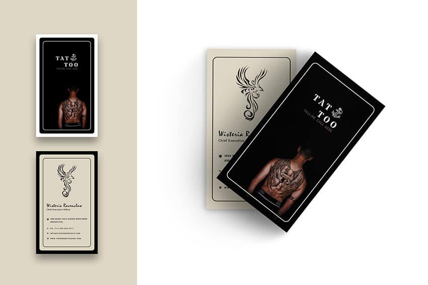 Tattoo Shop Vertical Business Card Template