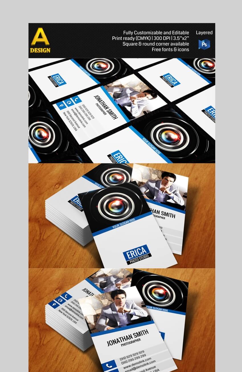 Photo Studio - Modern Business Card Template With Photo Designs