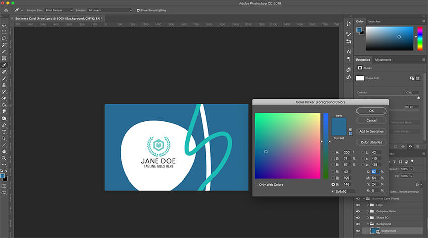 Customizing colors in Creative Business Card template