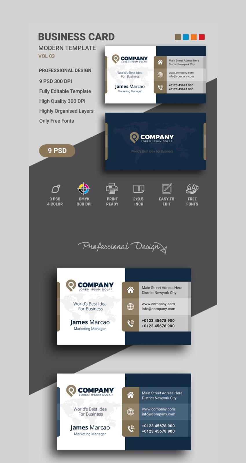 Business Card Template - Contemporary Business Card Design