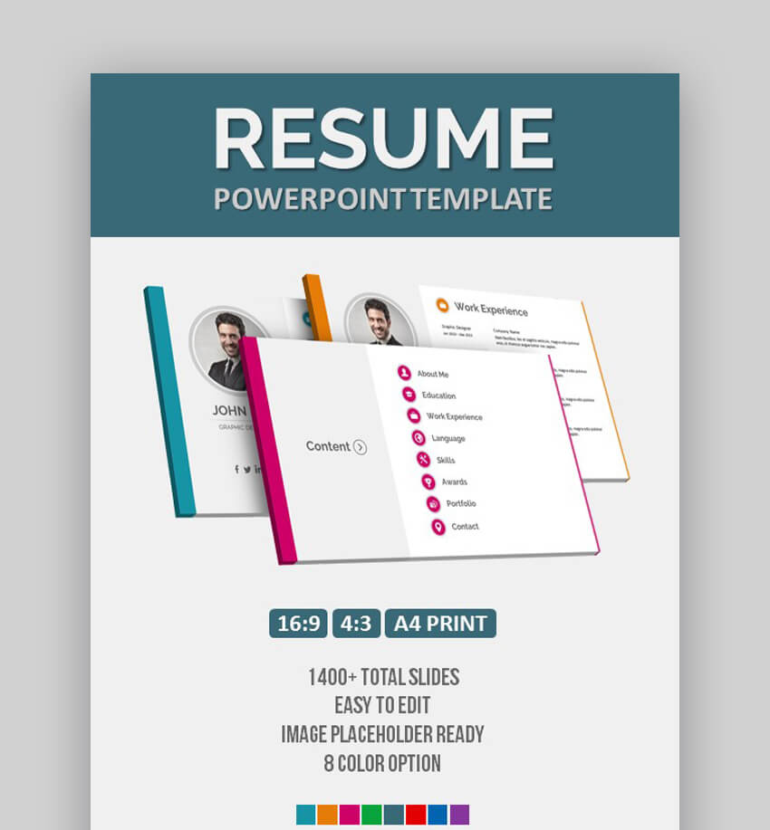 Resume - Easy to Edit Resume Template in PowerPoint Format