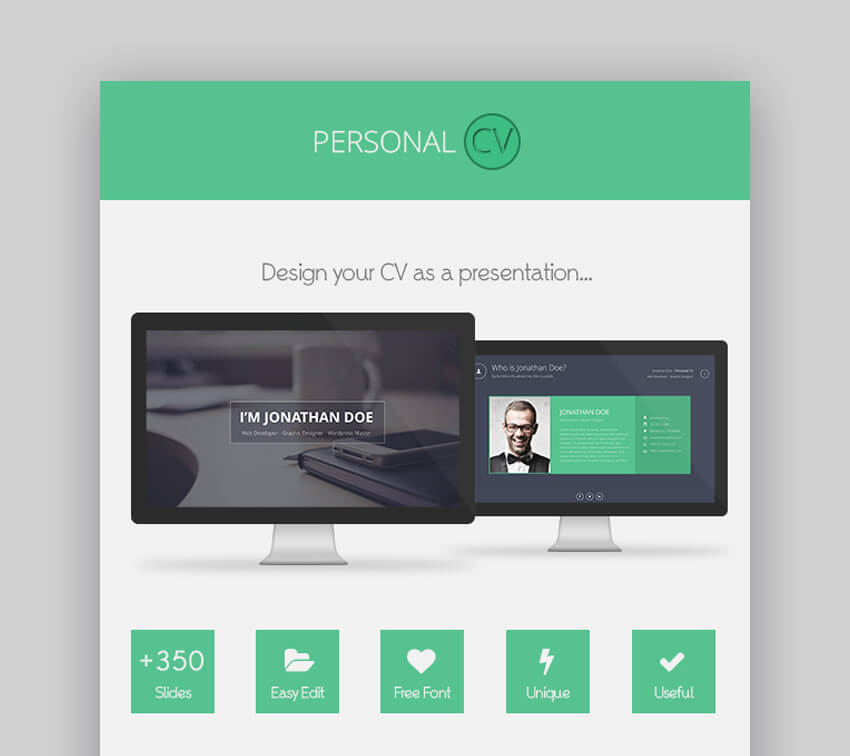 Personal CV - Cool CV PowerPoint Template