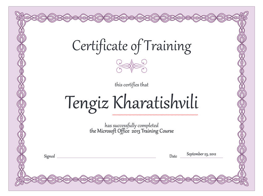 Free Certificate of Training Template