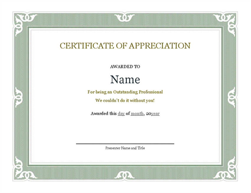 Free Certificate of Recognition for Administrative Employees
