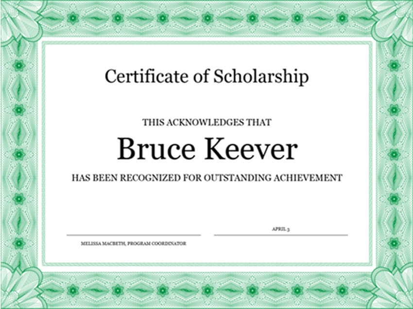 Free Certificate of Scholarship Template