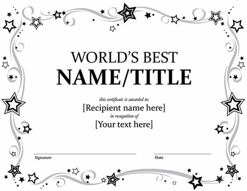 Free Word Award Certificate Template