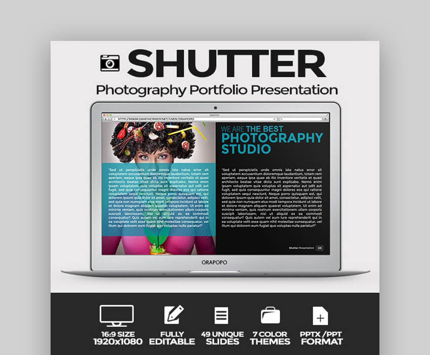 Shutter - Photography Portfolio PowerPoint Template