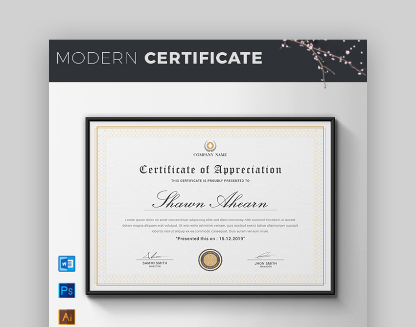 Certificate - Modern Certificate Template for Google Docs