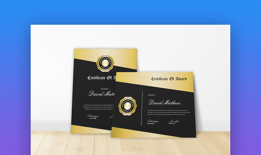Certificate 9 - Elegant Gold Certificate Template for Google Docs