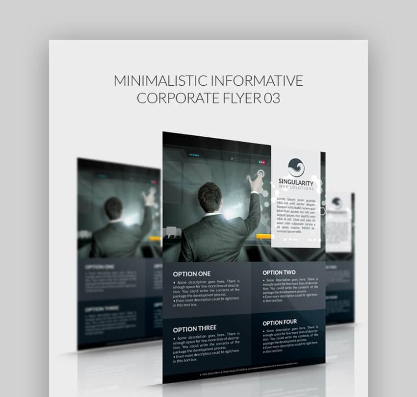 Minimalistic Informative Corporate Flyer  Simple Information Template Design