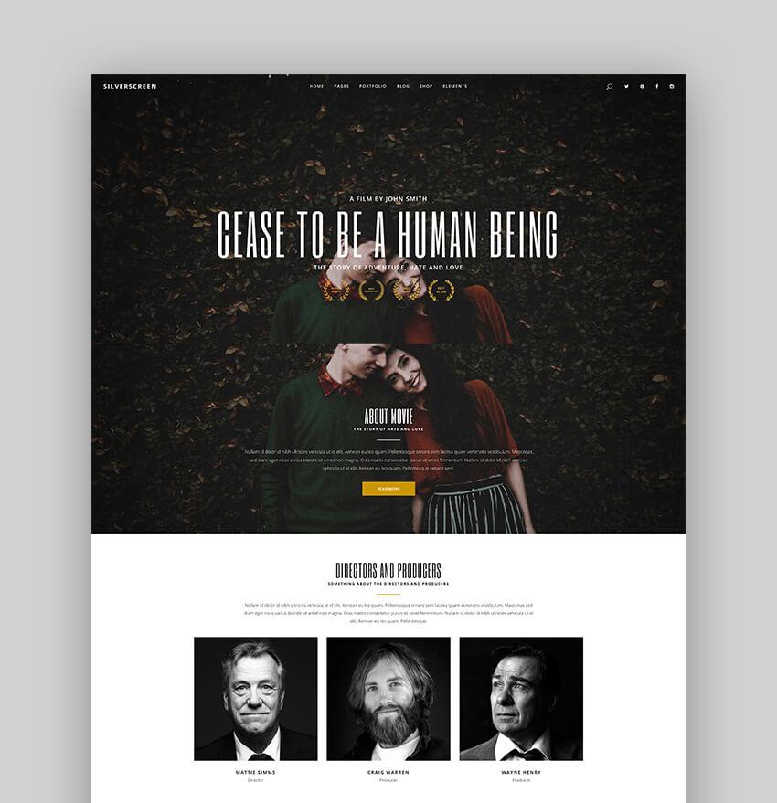 Silverscreen - A Modern Theme for WordPress Acting Websites