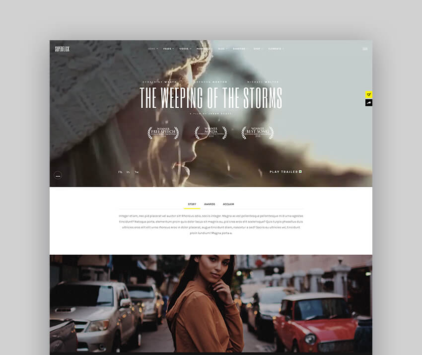 Superflick - An Elegant Video Oriented WordPress Theme For Actors