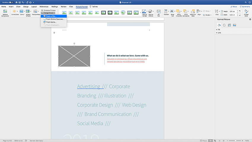 Adding images to creative project proposal template