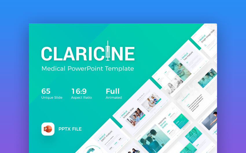 Claricine - Fresh Medical  Healthcare PowerPoint Template