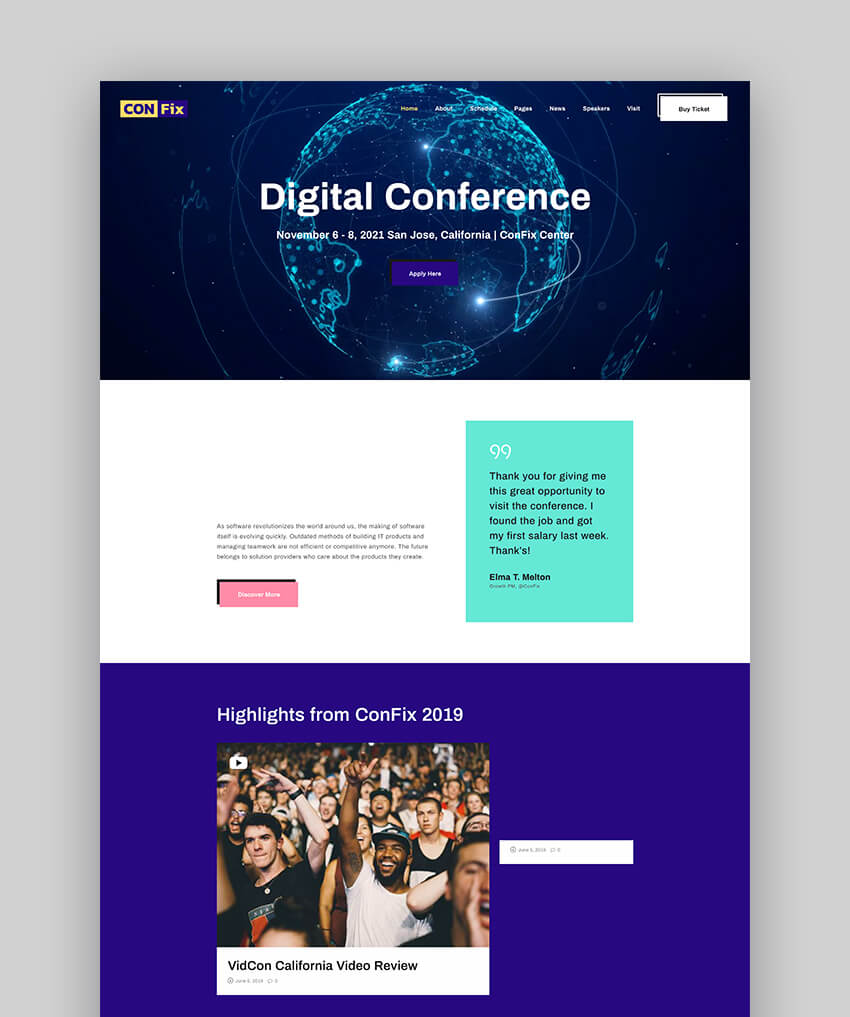ConFix - Tema de WordPress para speakers y conferencias