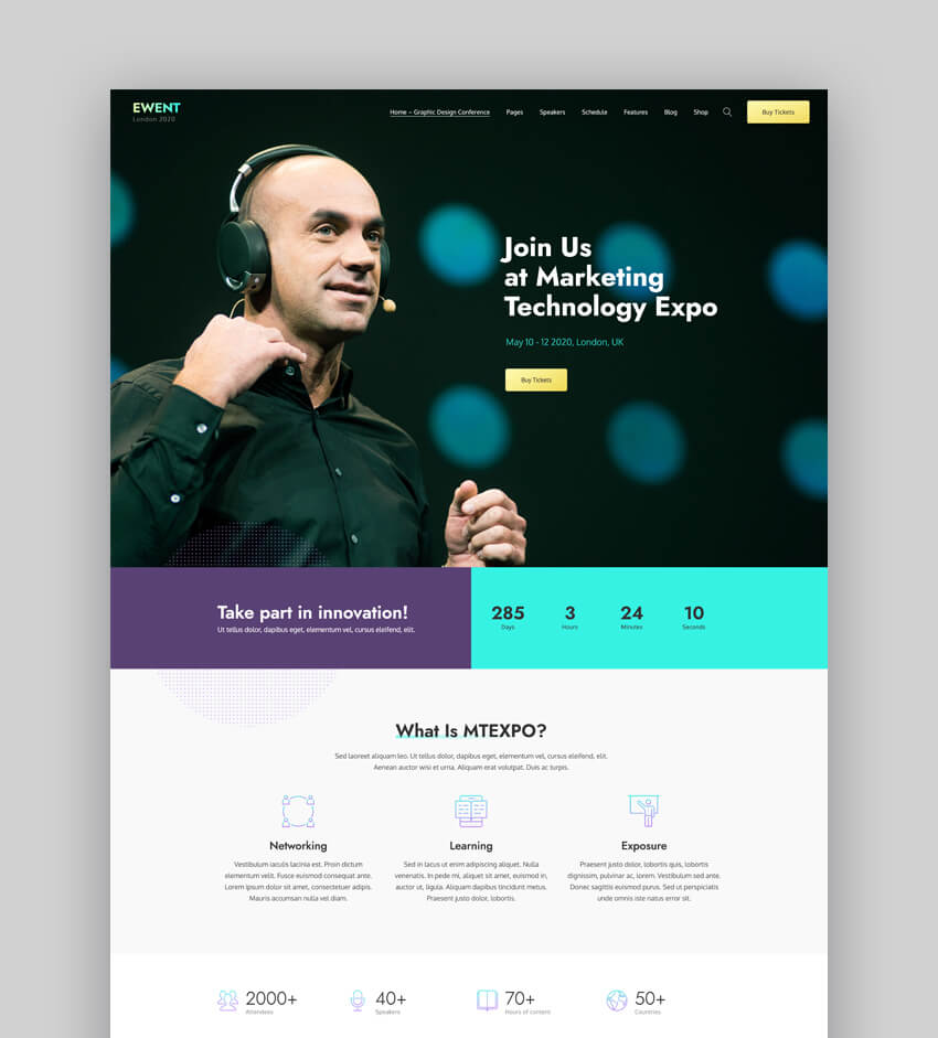 Ewent - Conference Speaker WordPress Theme