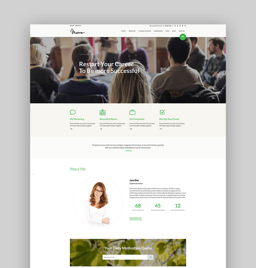 Mentor  Speaker And Personal Development Coach WordPress Theme