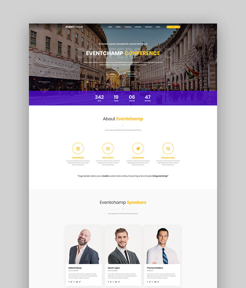 Multiple Event  Conference Speaker Theme For WordPress