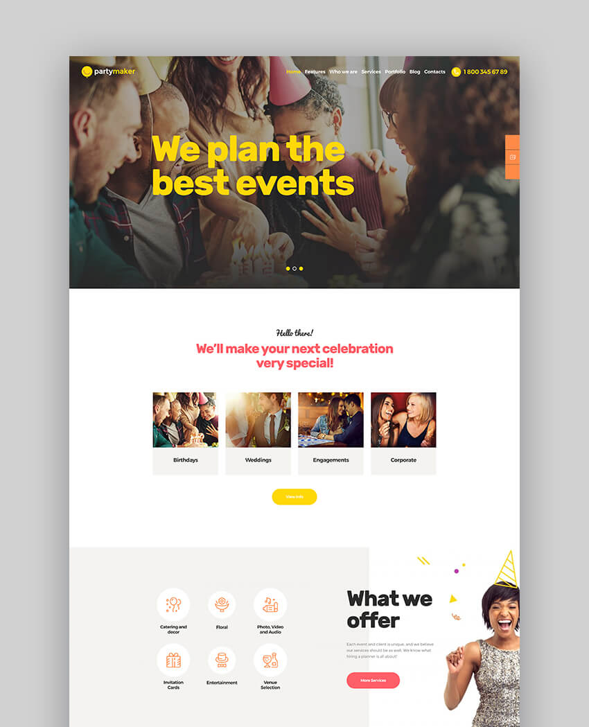 PartyMaker  Event Planner  Wedding Agency WordPress Theme