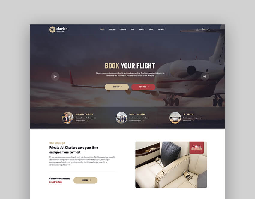 Alavion - Private Jet Charter Taxi WordPress Theme