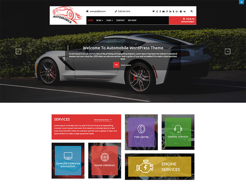 Automobile Car Dealer - Free Taxi WordPress Theme